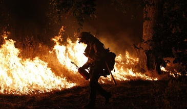 MIDDLETOWN, CA - SEPTEMBER 13: A firefighter with the Marin County Fire Department's Tamalpais Fire Crew ignite a backfire with a driptorch as he battles the Valley Fire on September 13, 2015 near Middletown, California. The fast-moving fire has consumed 50,000 acres after it grew  40,000 acres in twelve hours and is currently zero percent contained. (Photo by Stephen Lam/ Getty Images)